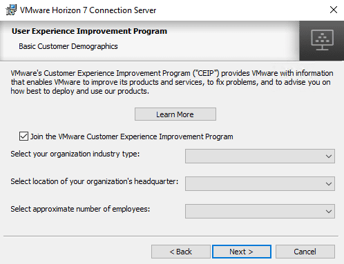 Choose-if-you-want-to-join-the-CEIP-program Upgrading to Horizon 7.8 Connection Server