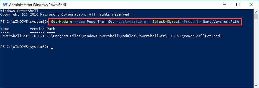 Getting-the-currently-installed-version-of-PowerShellGet-on-a-Windows-10-workstation