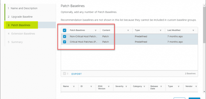 Select Multiple Patch Baselines in vSphere 6 7 Update 1 HTML