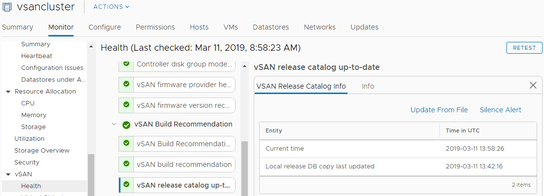 The-vSAN-6.7-Update-1-release-catalog-is-now-updated-and-shows-as-healthy VMware vSAN 6.7 Update 1 Unable to Update Release Catalog Error