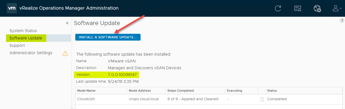 Upgrade to VMware vRealize Operations Manager 7 5