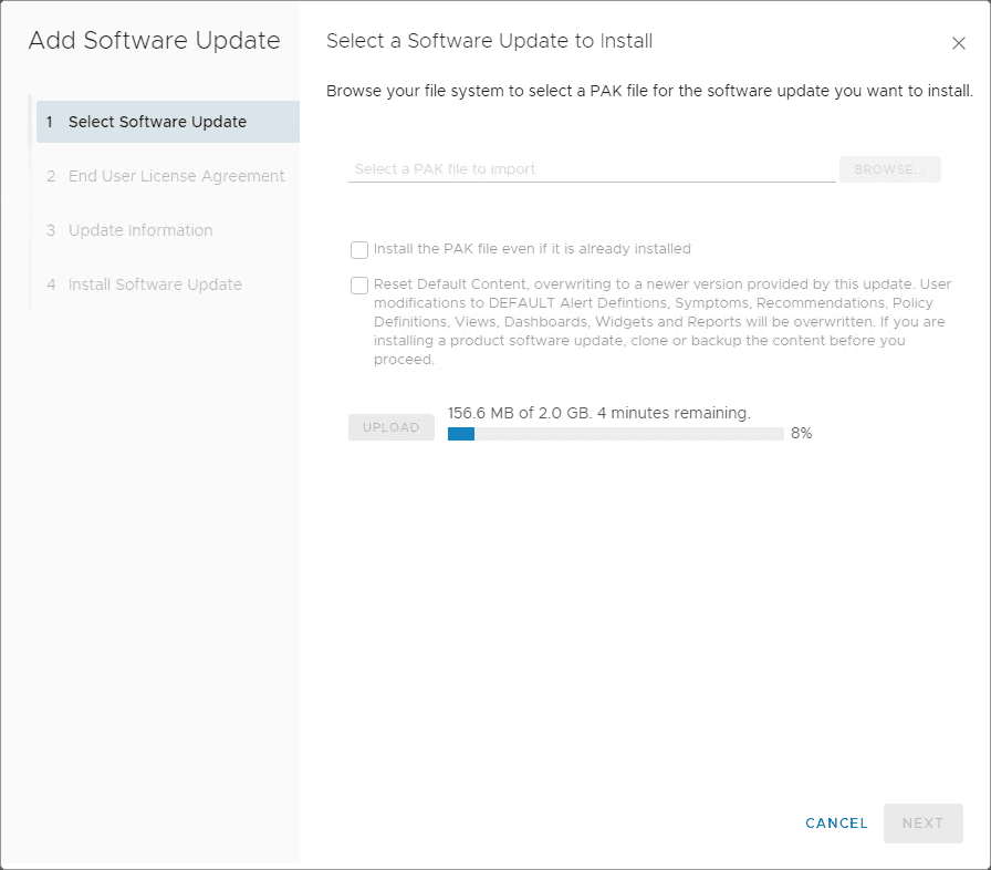 Beginning-the-upload-of-the-vRealize-Operations-Manager-7.5-application-upgrade-PAK-file