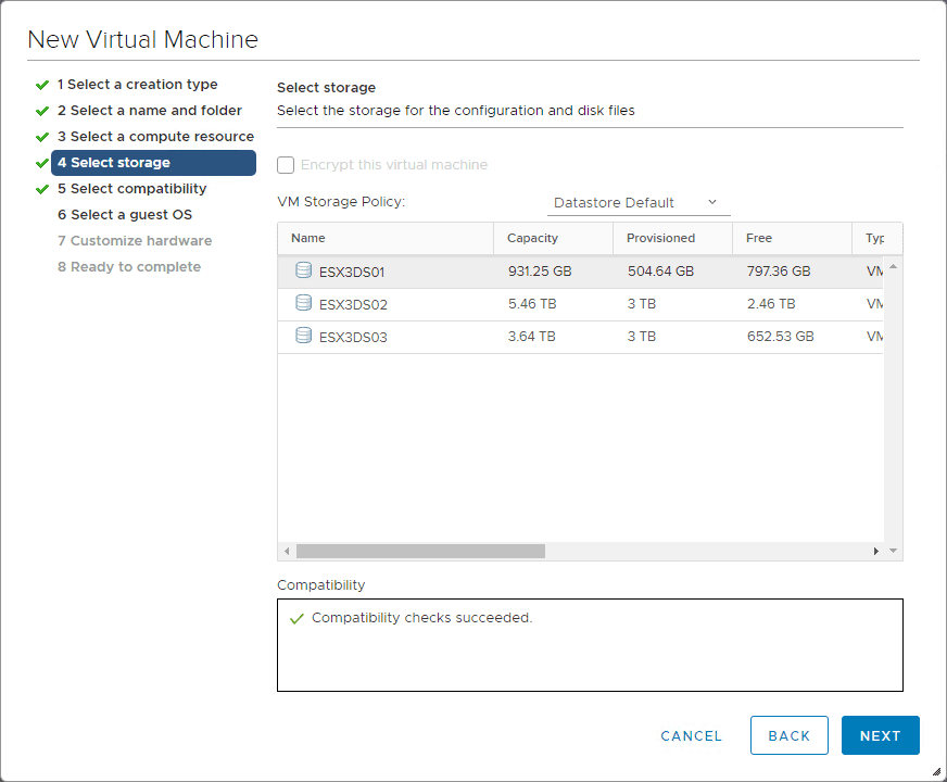 Select-the-datastore-to-house-the-Nutanix-CE-nested-VM Install Nested Nutanix CE in VMware vSphere ESXi 6.7 Update 1