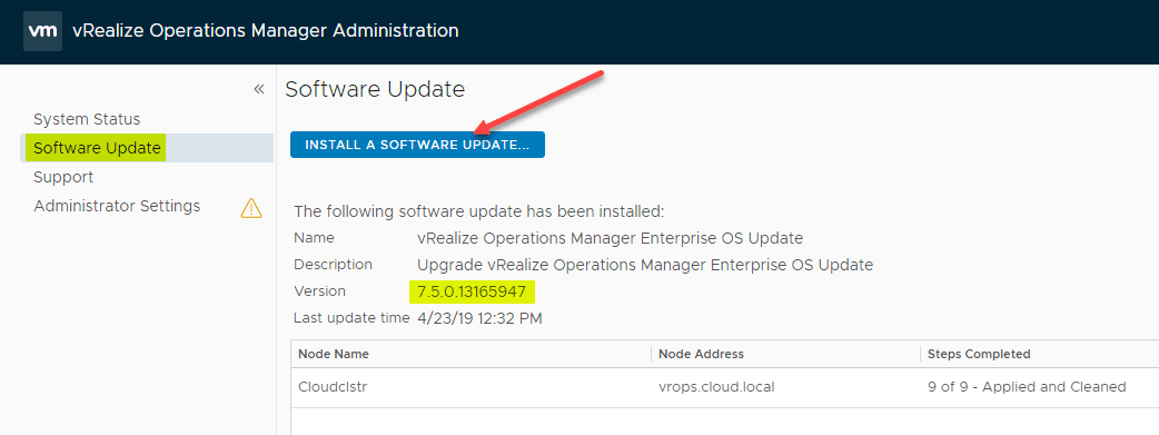 VMware-vROPs-7.5-OS-PAK-update-applied-successfully