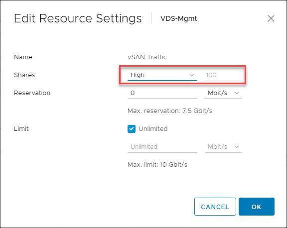 Editing-the-vSAN-network-settings-shares-in-NIOC