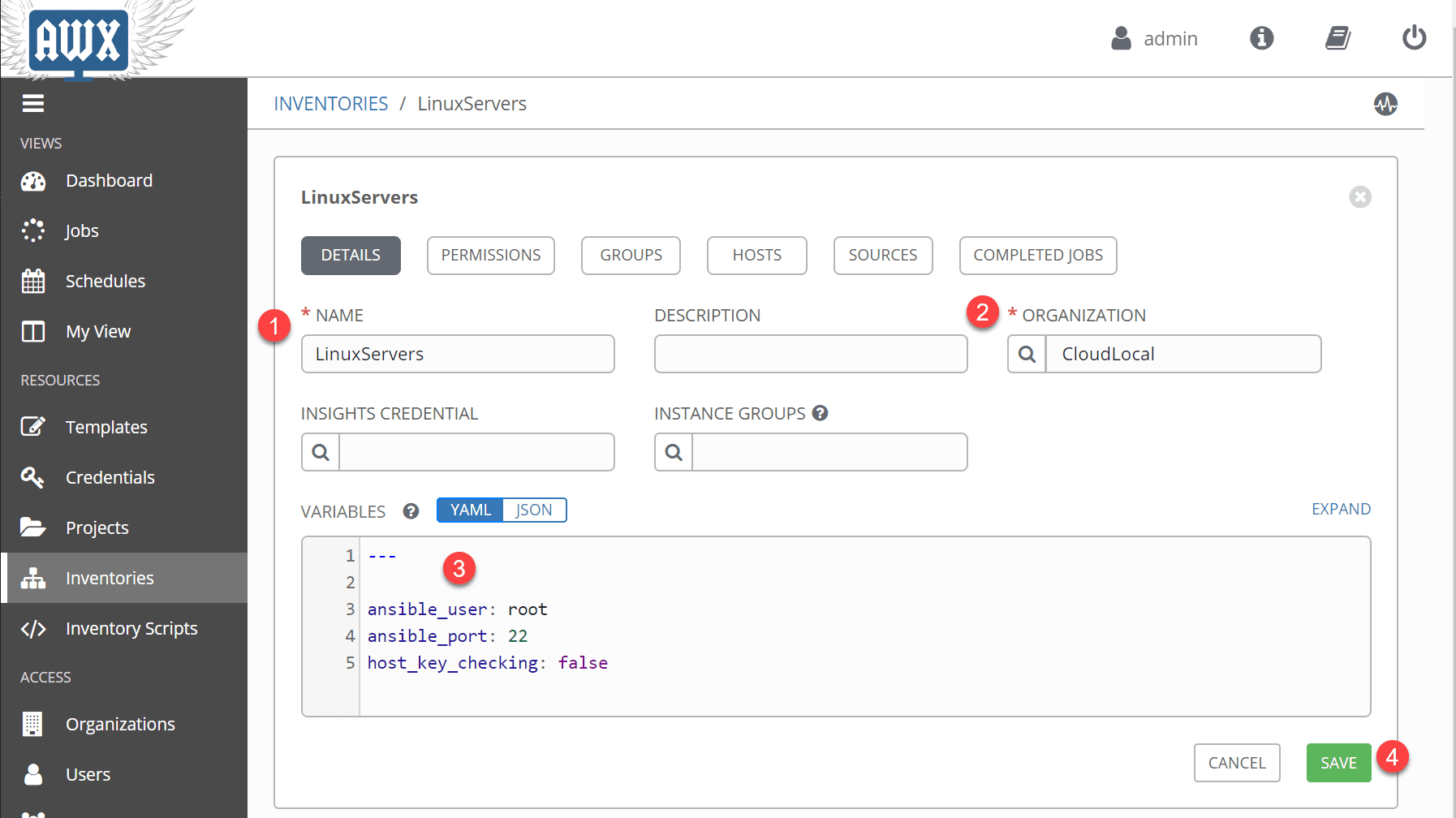 Creating-inventories-in-Ansible-AWX-for-server-connections-and-hosts