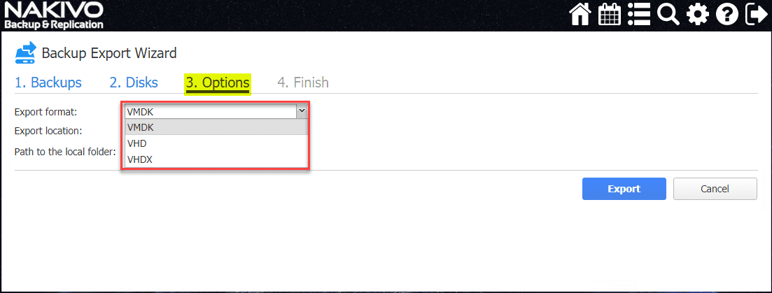 Select-the-physical-disk-export-options-export-format