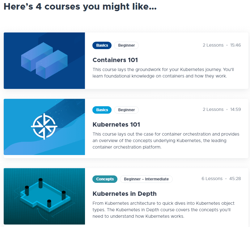 After-taking-the-Kubernetes-knowledge-assessment-recommended-courses-will-be-displayed