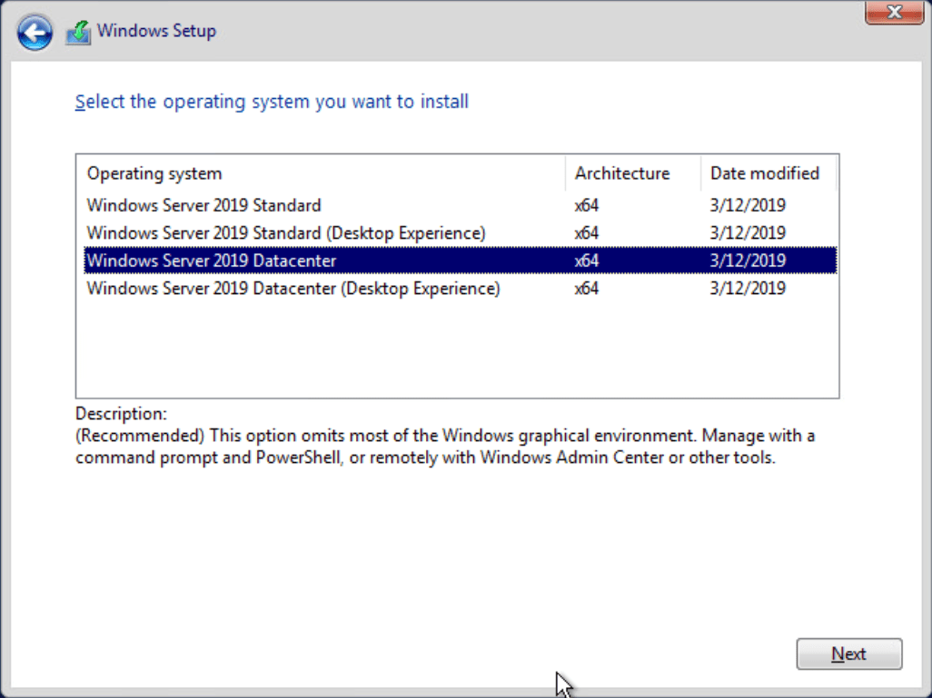 Installing-Windows-Server-2019-Core-without-the-Desktop-experience