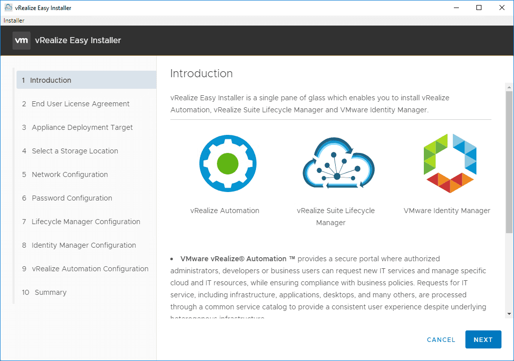 Introduction-screen-on-the-Easy-Installer-for-vRealize-Automation-8