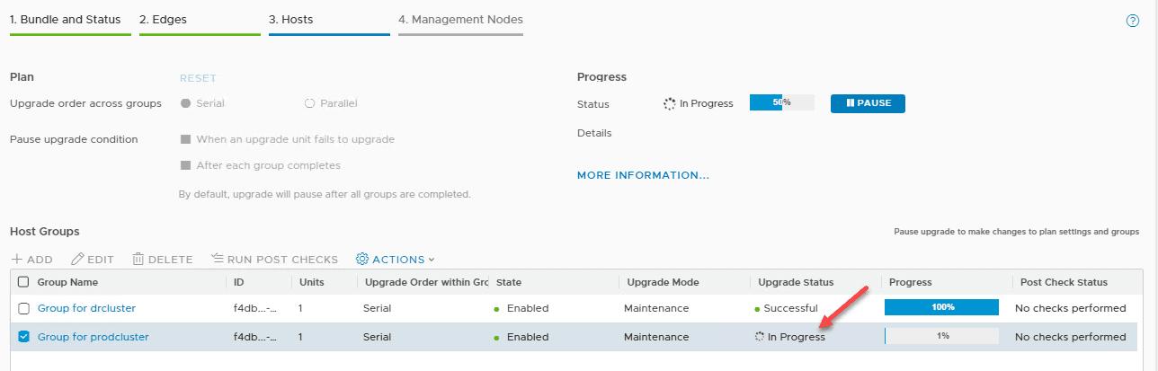 Second-host-cluster-NSX-T-upgrade-proceeds