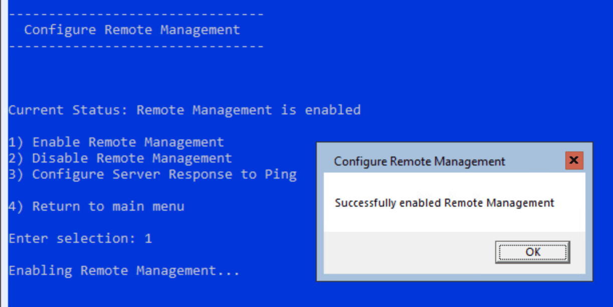 Successfully-enabled-remote-management-using-sconfig