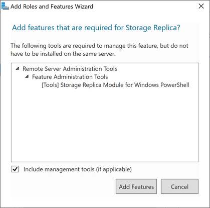 Adding-required-features-for-Storage-Replica-in-Windows-Server-2019