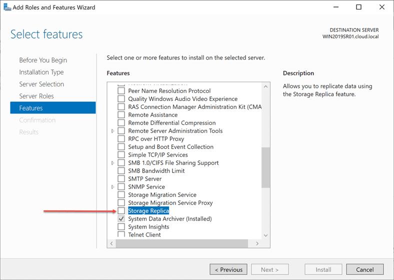 Adding-the-Storage-Replica-Feature-in-Windows-Server-2019