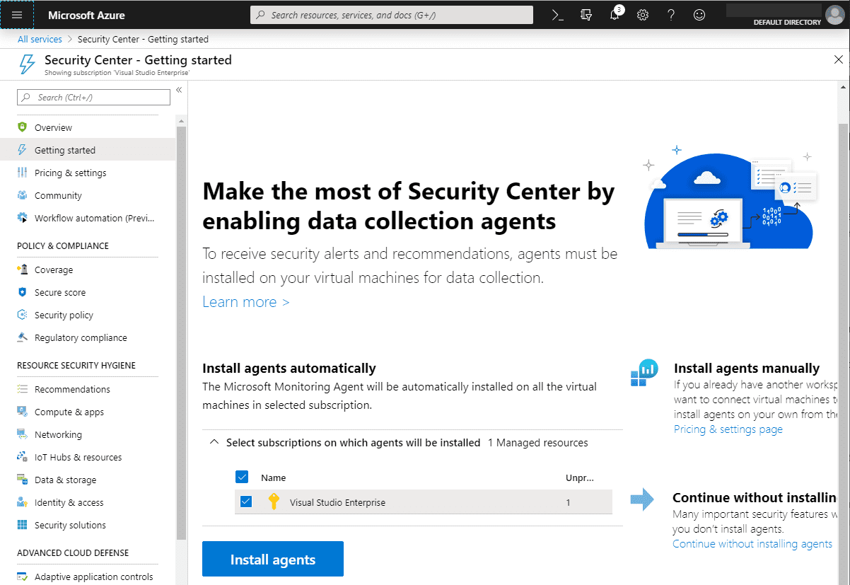 Enabling-Azure-Security-Center-Data-Collection-Agents