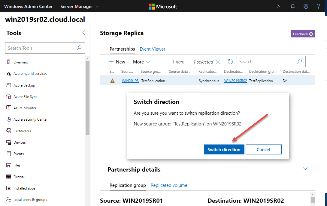 Initiating-the-switch-direction-function-in-Windows-Admin-Center-to-the-destination-Storage-Replica-server