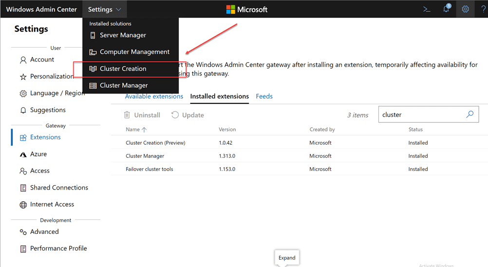 New-Cluster-Creation-menu-option-is-now-available-under-Settings-in-Windows-Admin-Center
