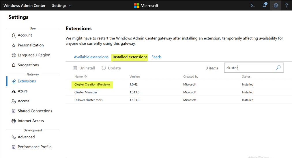 Verifying-the-Cluster-Creation-extension-is-now-installed