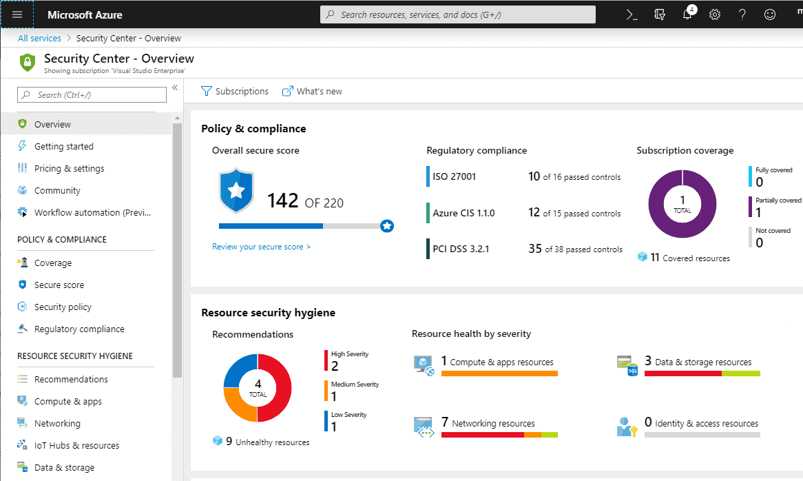 Viewing-the-Azure-Security-Center-Secure-Score