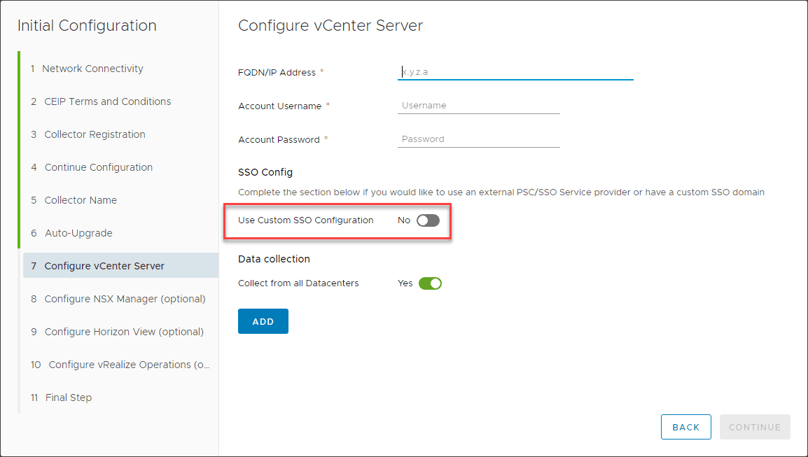 Configuring-the-connection-to-vCenter-Server-for-VMware-Skyline
