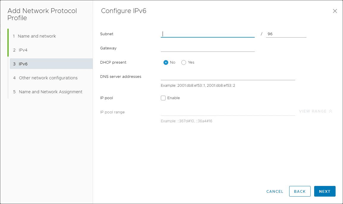 Network-protocol-profile-IPv6-configuration