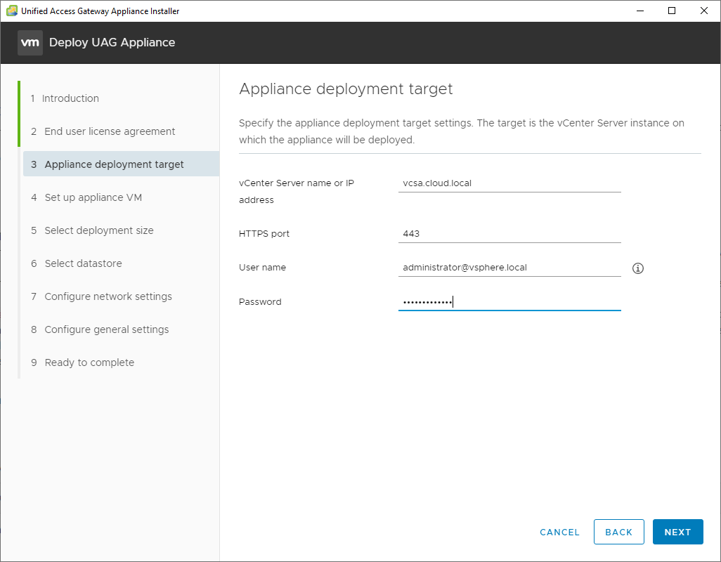 Configure-the-appliance-deployment-target