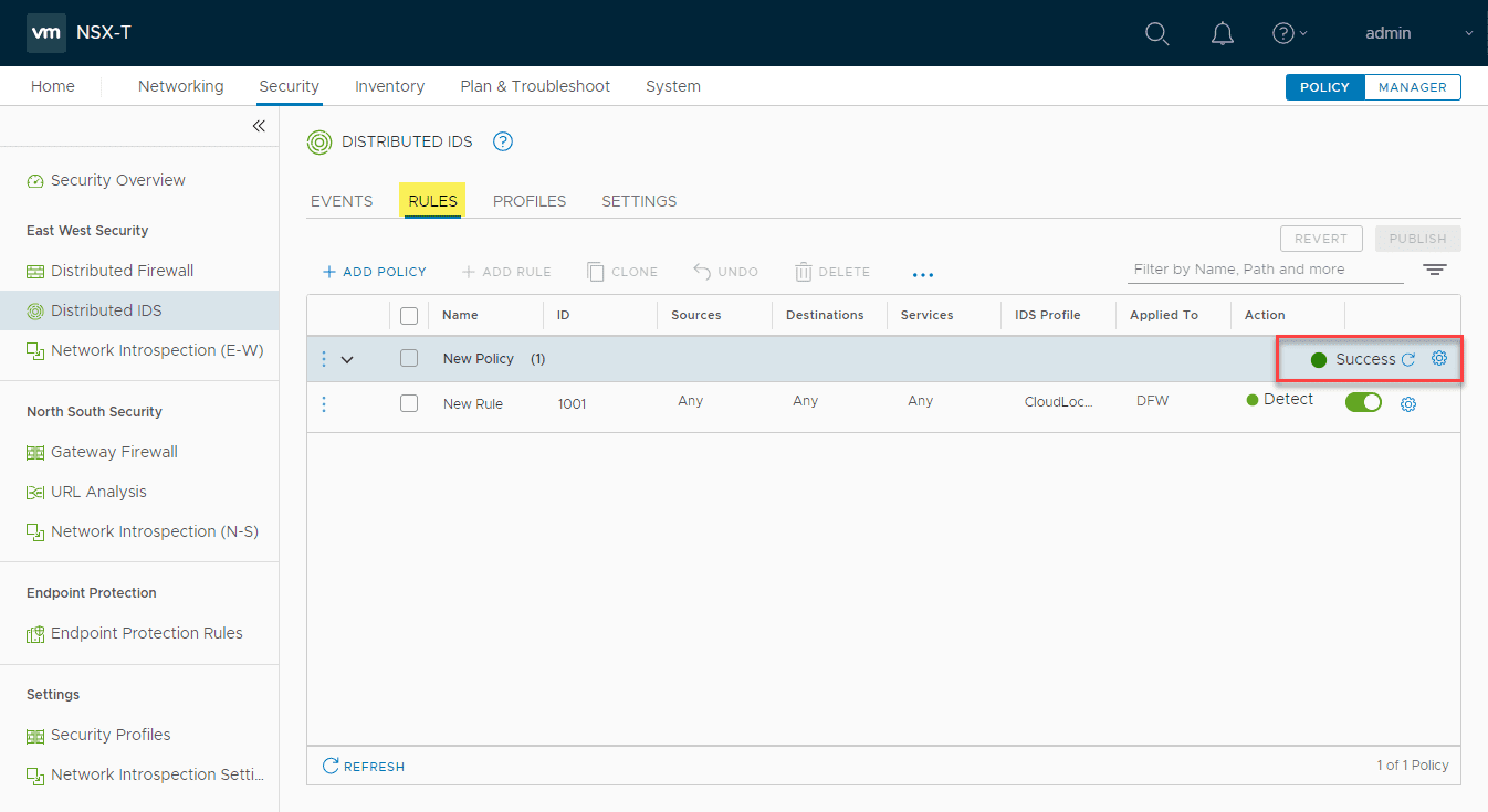 New-NSX-T-3.0-distributed-IDS-rule-published-successfully