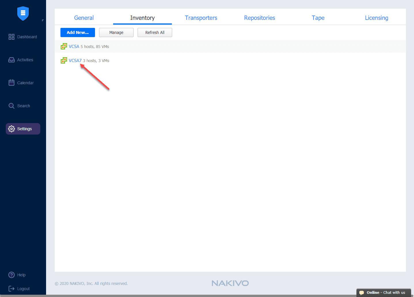Successfully-adding-a-vSphere-7-environment-in-NAKIVO-Backup-Replication-v10