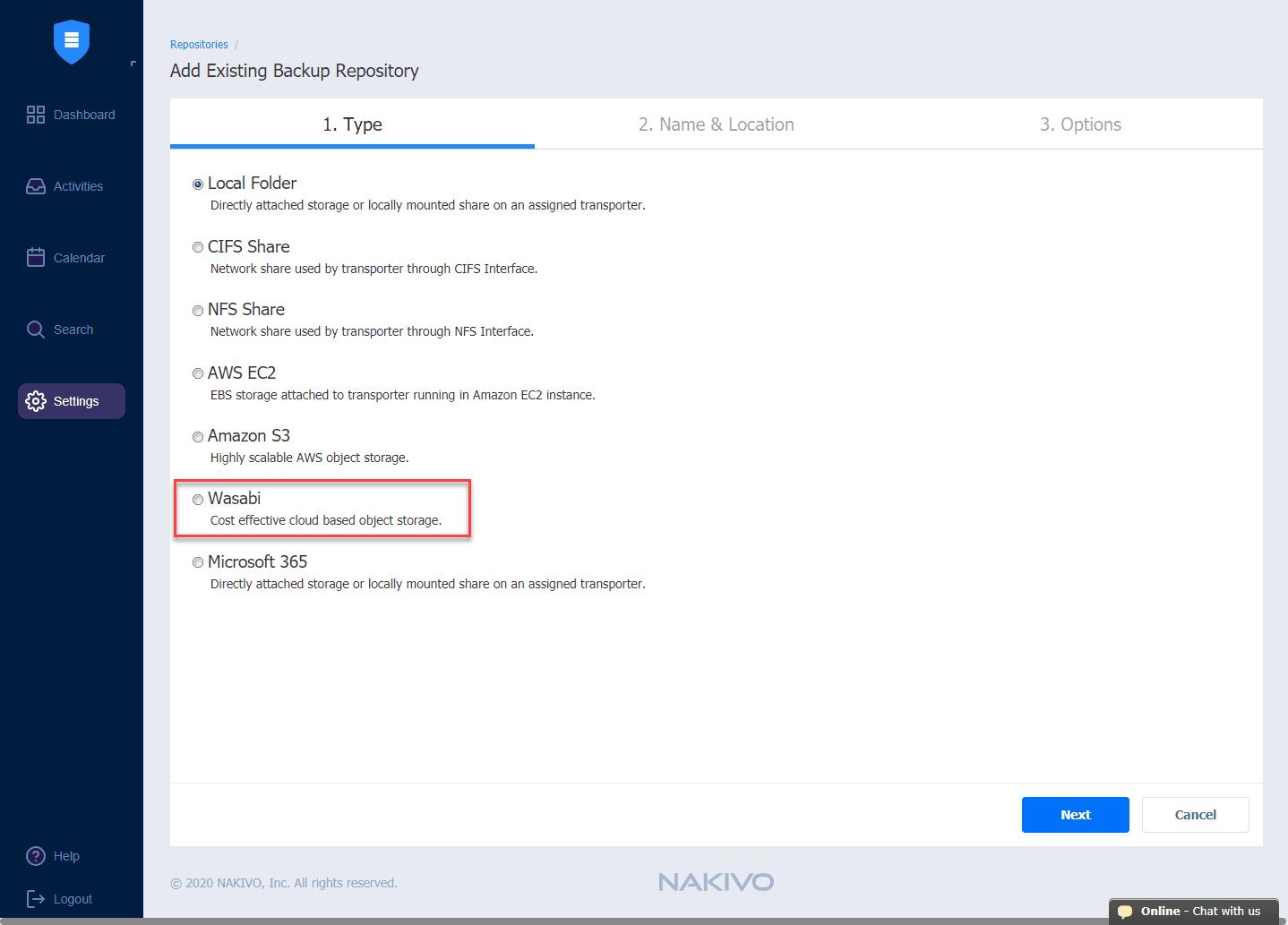 Wasabi-backup-repository-added-in-NAKIVO-Backup-Replication-v10-beta