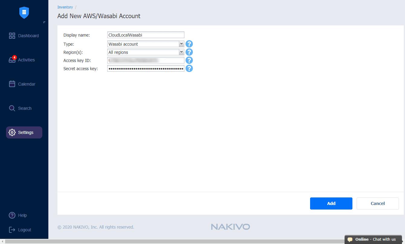 Add-the-Wasabi-account-to-NAKIVO