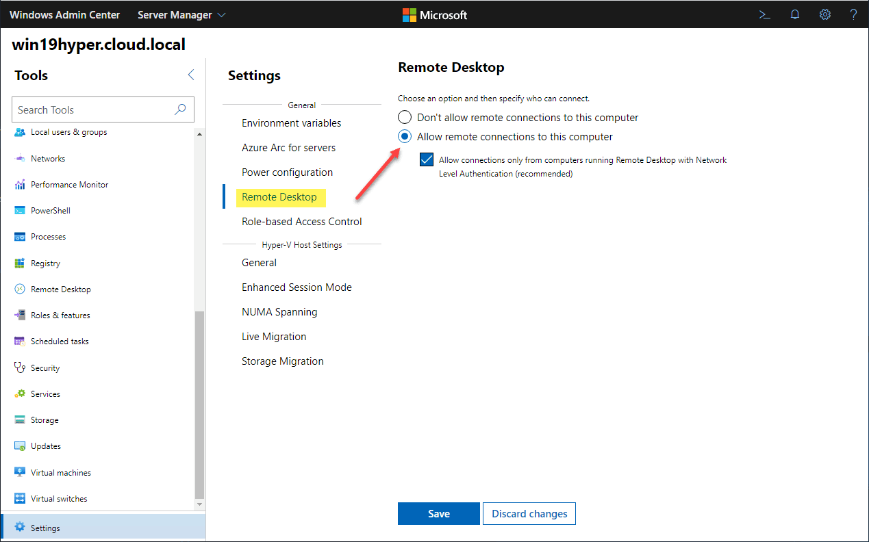 Allowing-remote-desktop-for-the-VMConnect-functionality