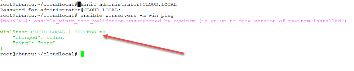 Ansible-win_ping-successfully-connects-to-the-target-Windows-Server