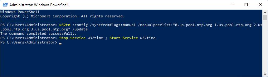 Configuring-the-time-source-for-your-domain-with-the-w32tm-utility