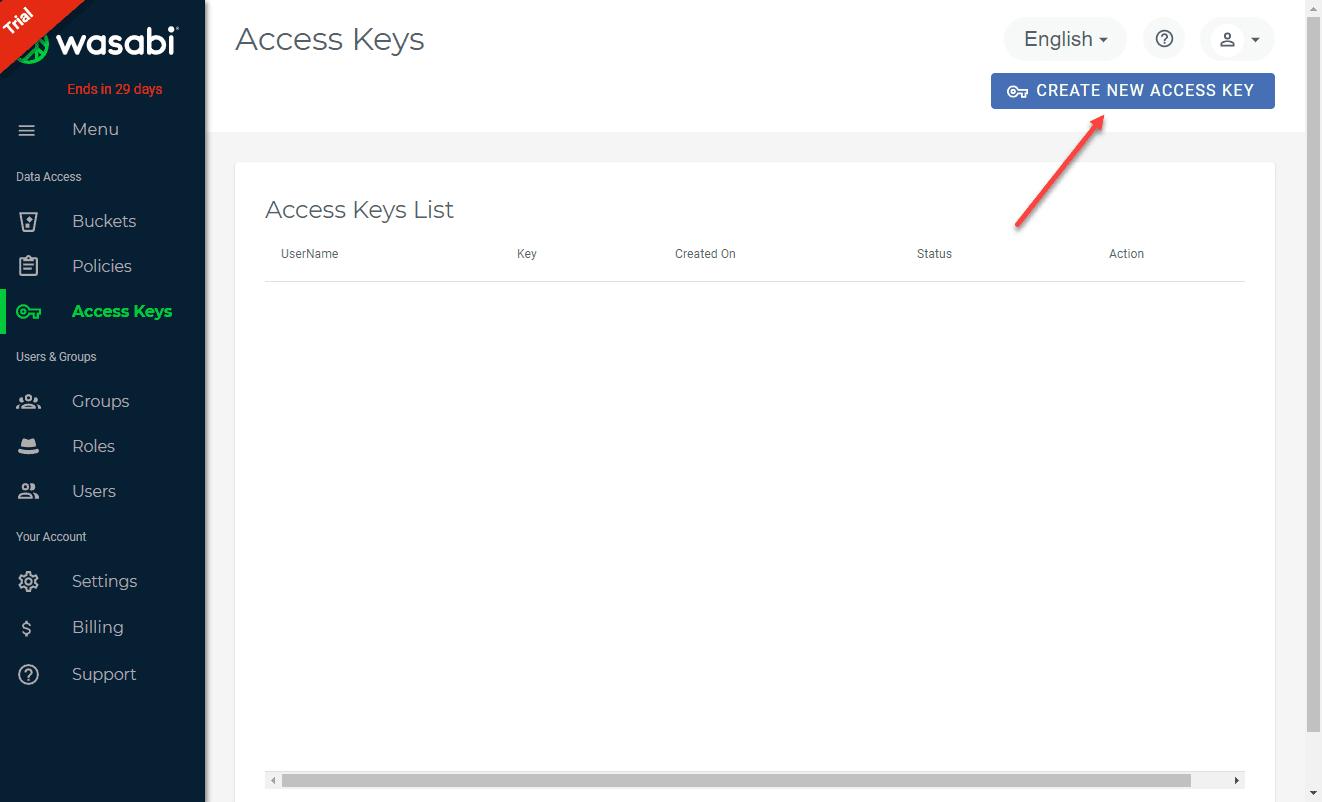 Create-new-Wasabi-access-key