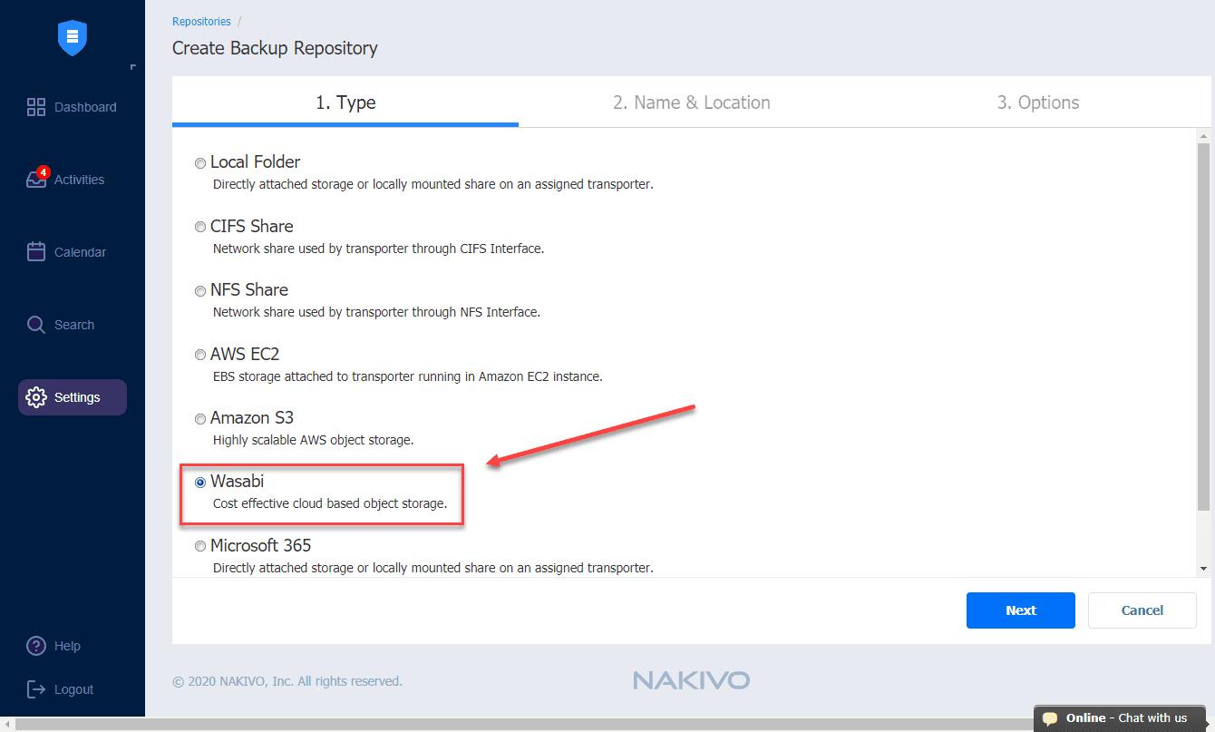 Creating-the-new-NAKIVO-backup-repository-in-Wasabi