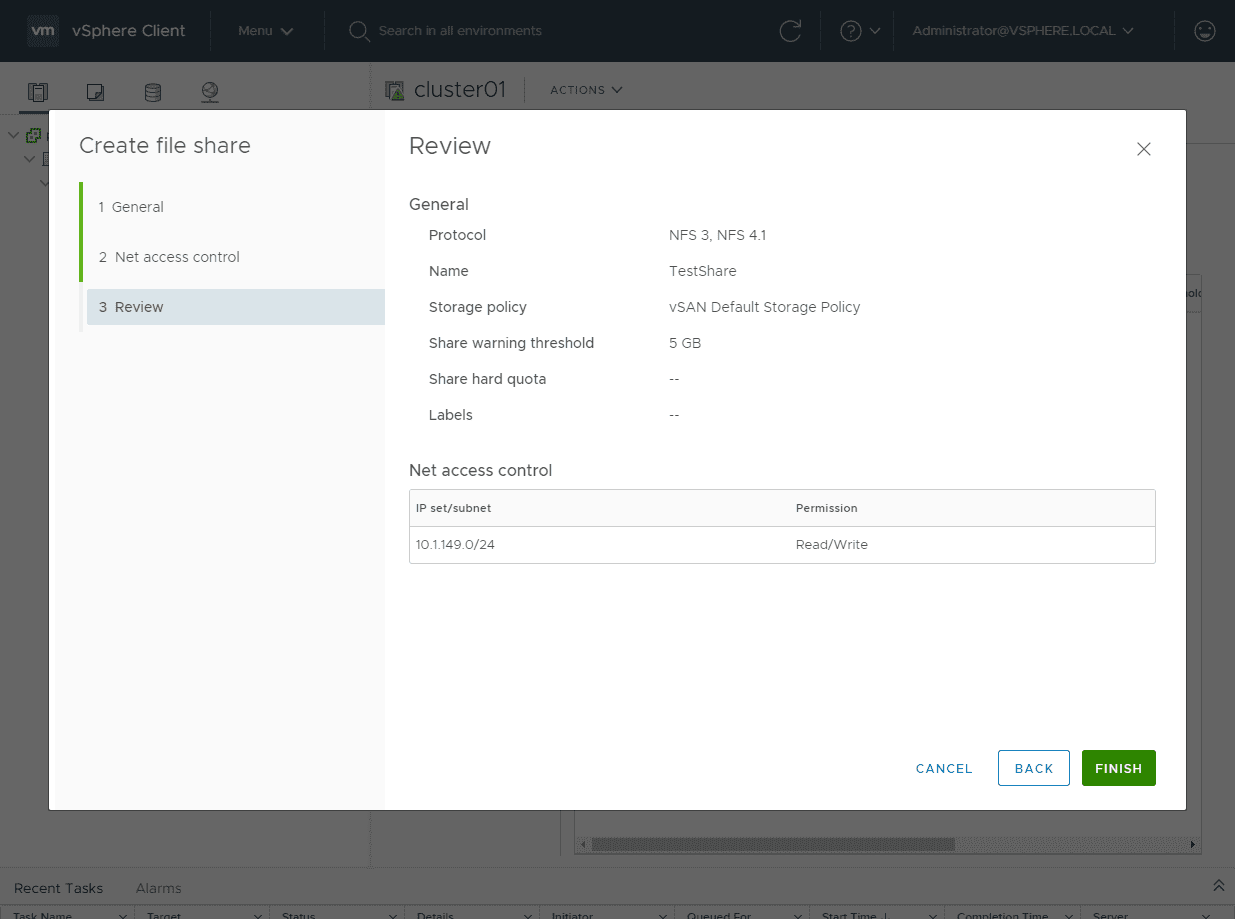Review-the-configuration-of-the-vSAN-NFS-share