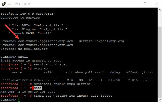 Setting-the-NTP-servers-from-the-command-line-on-the-VCSA-appliance