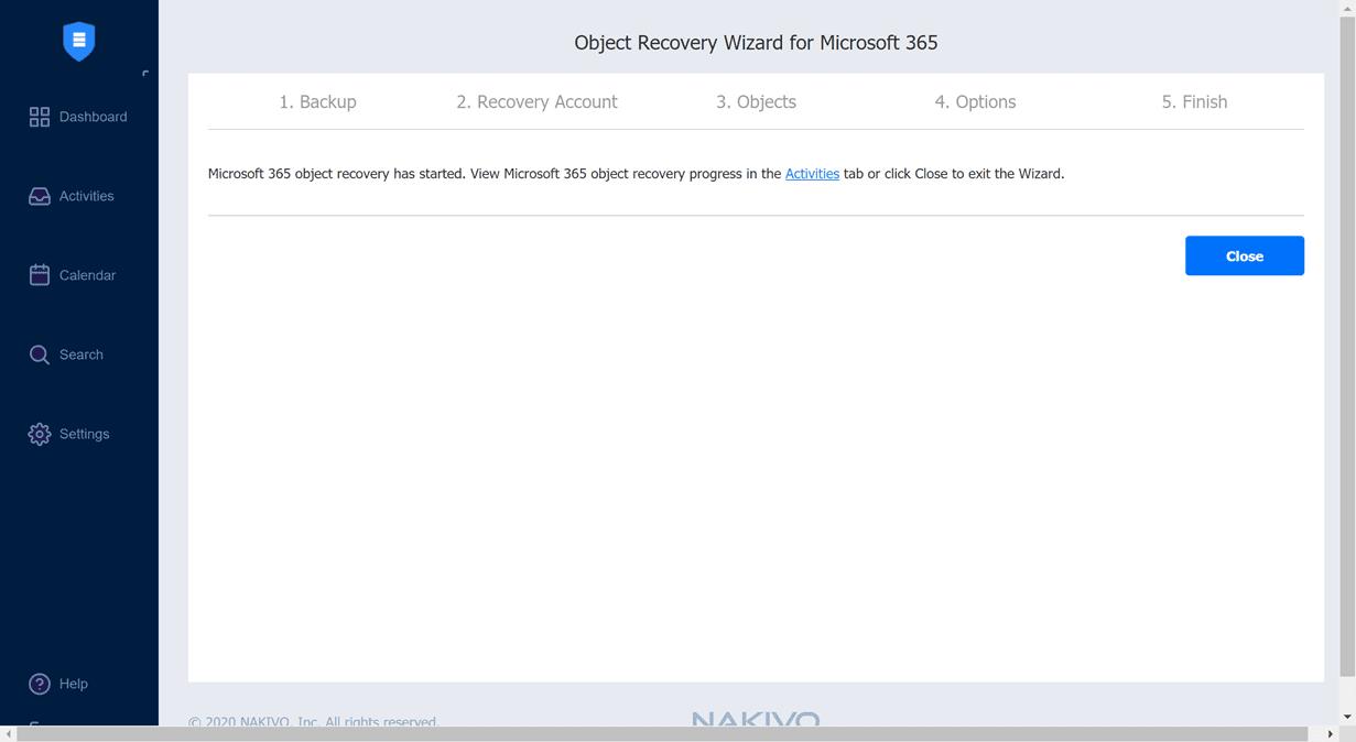 The-OneDrive-file-restore-recovery-job-kicks-off