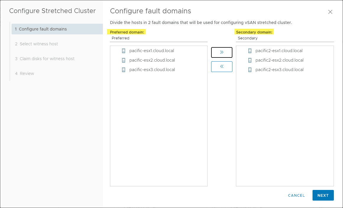 Configuring-the-fault-domains-for-the-vSAN-7-stretched-cluster