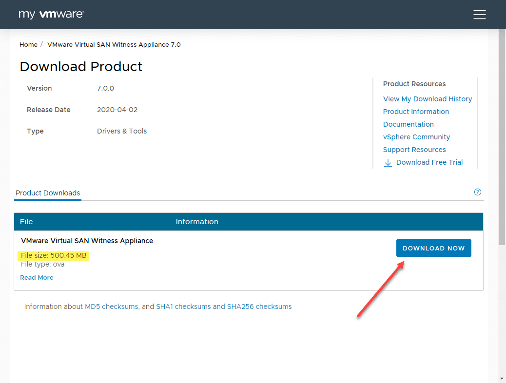 Downloading-the-vSAN-7-witness-appliance