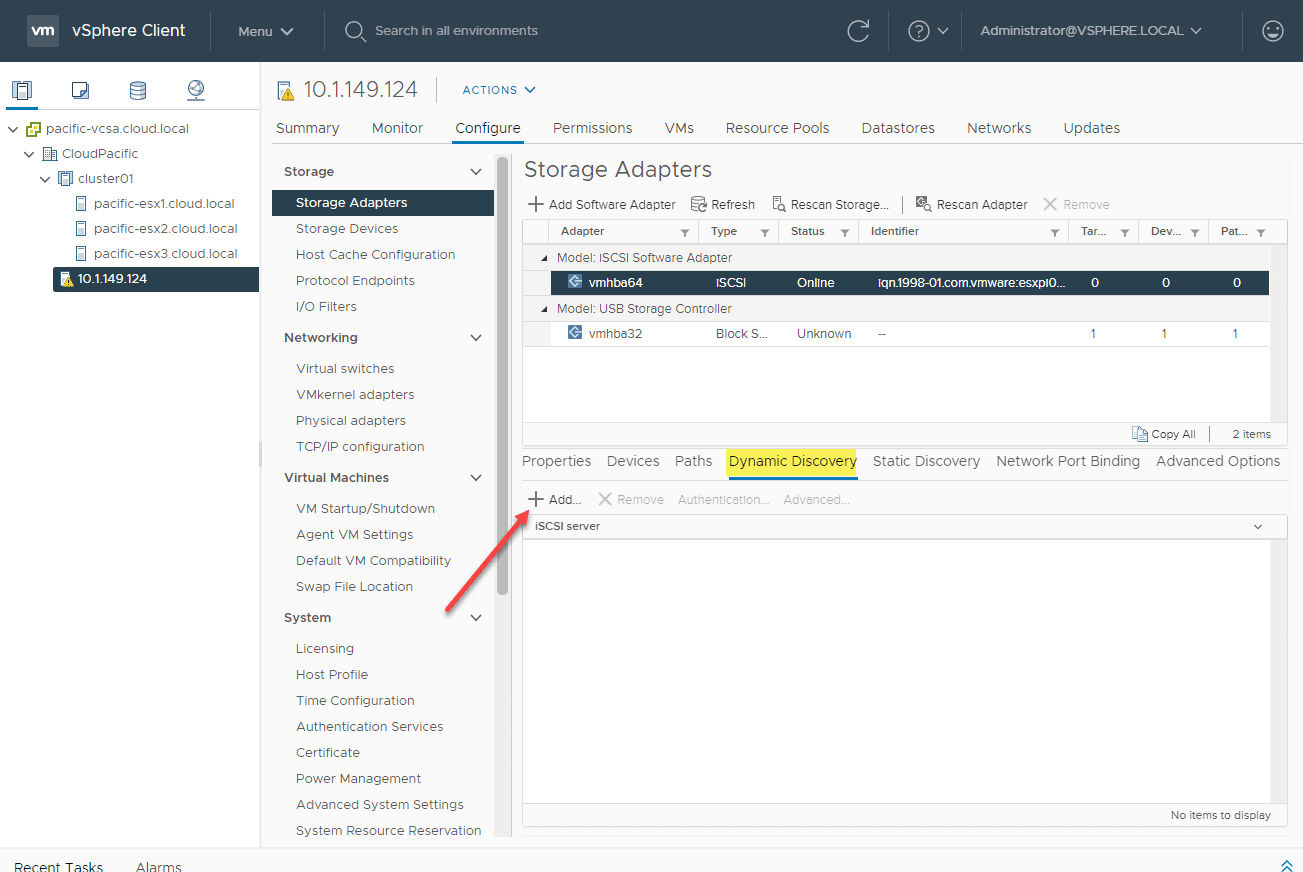 Adding-a-dynamic-discover-of-an-iSCSI-target