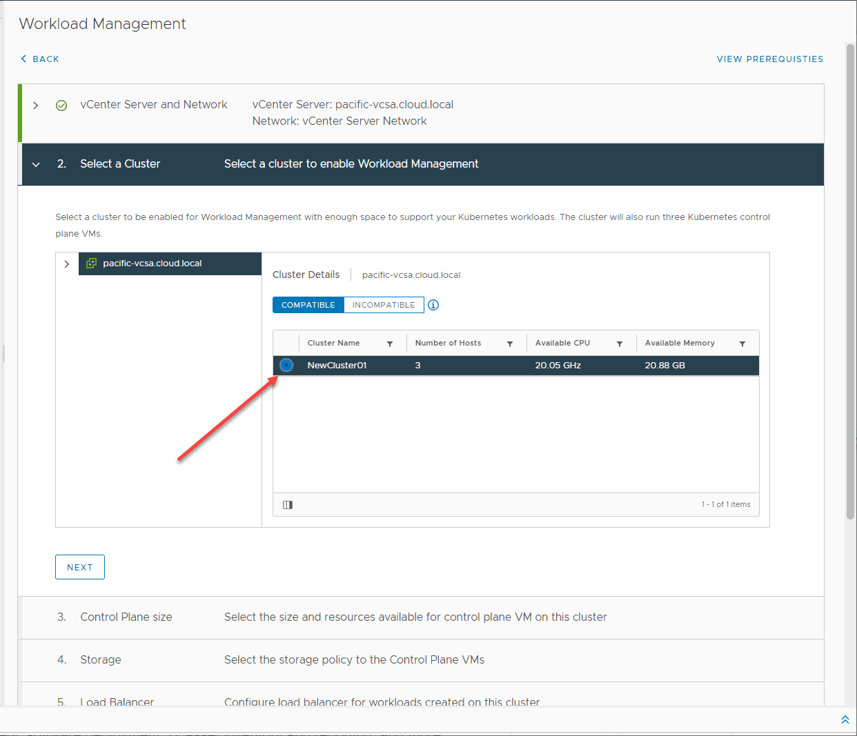 Select-a-vSphere-cluster