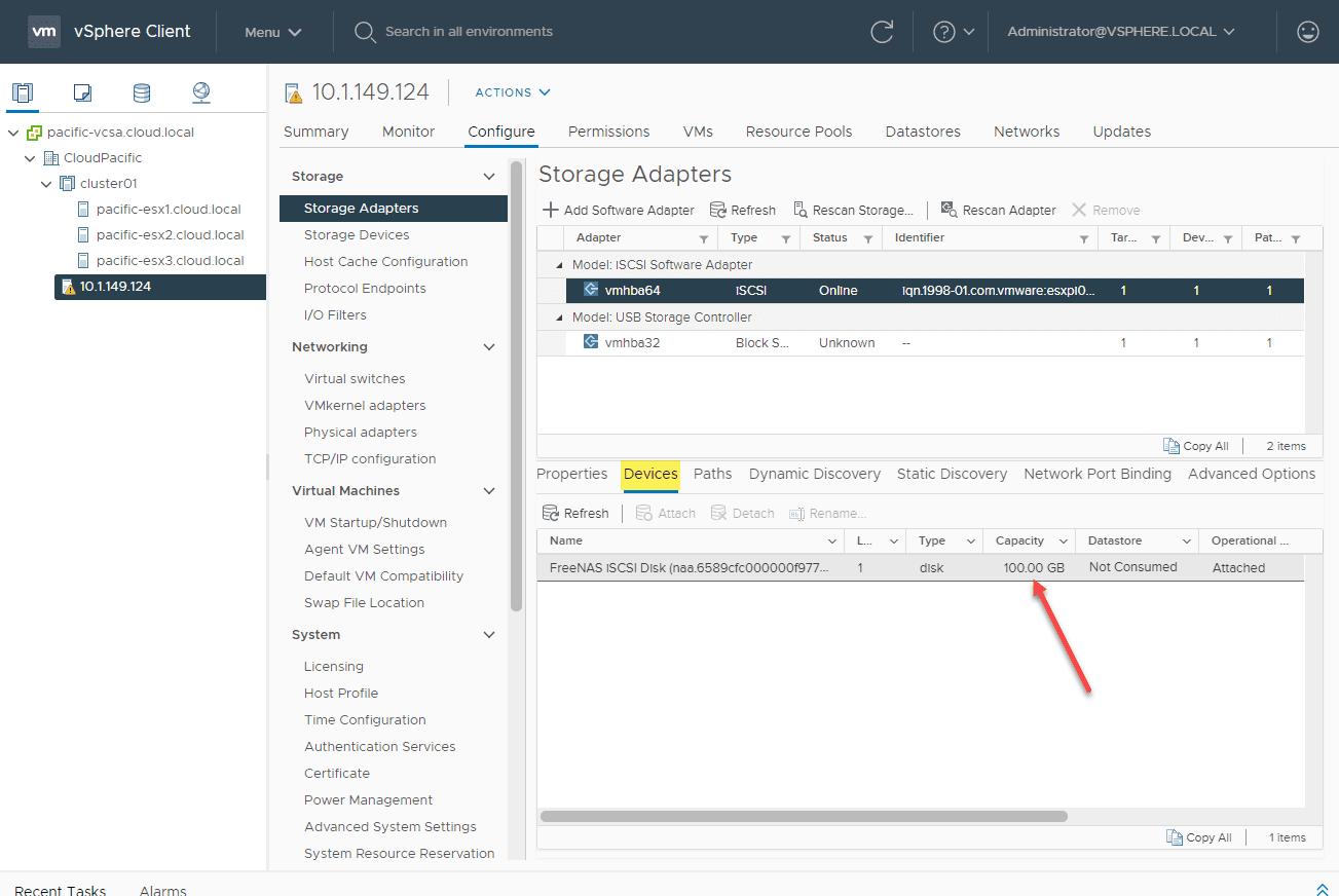 TrueNAS-iSCSI-device-added-to-the-ESXi-Arm-server