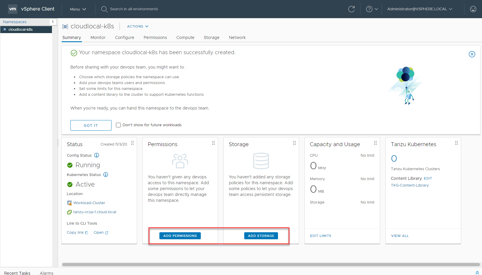 Add-permissions-and-storage-policy-to-the-namespace