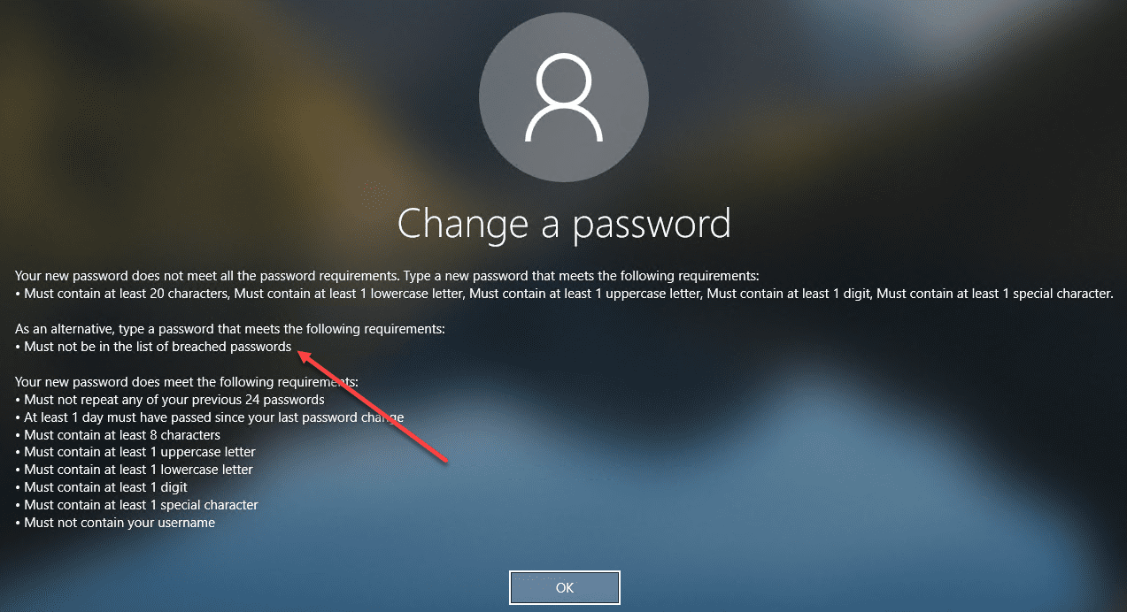 User-receives-an-intuitive-message-noting-the-requirements-when-attempting-to-change-to-a-breached-password
