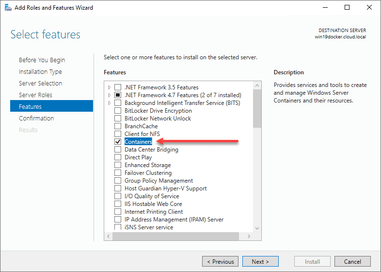 Install-the-containers-feature-in-Windows-Server-2019