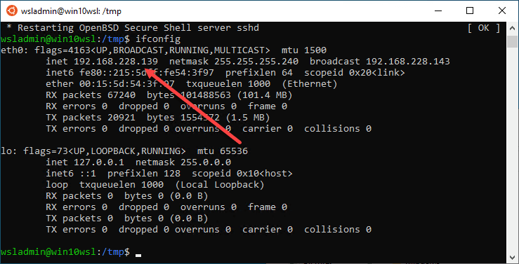 Find-the-IP-address-for-the-Windows-Subsytem-for-Linux-installation