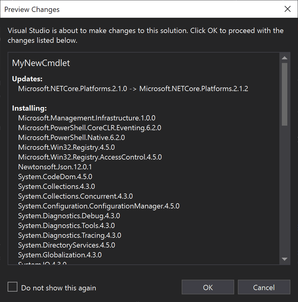 Accept changes made in visual studio
