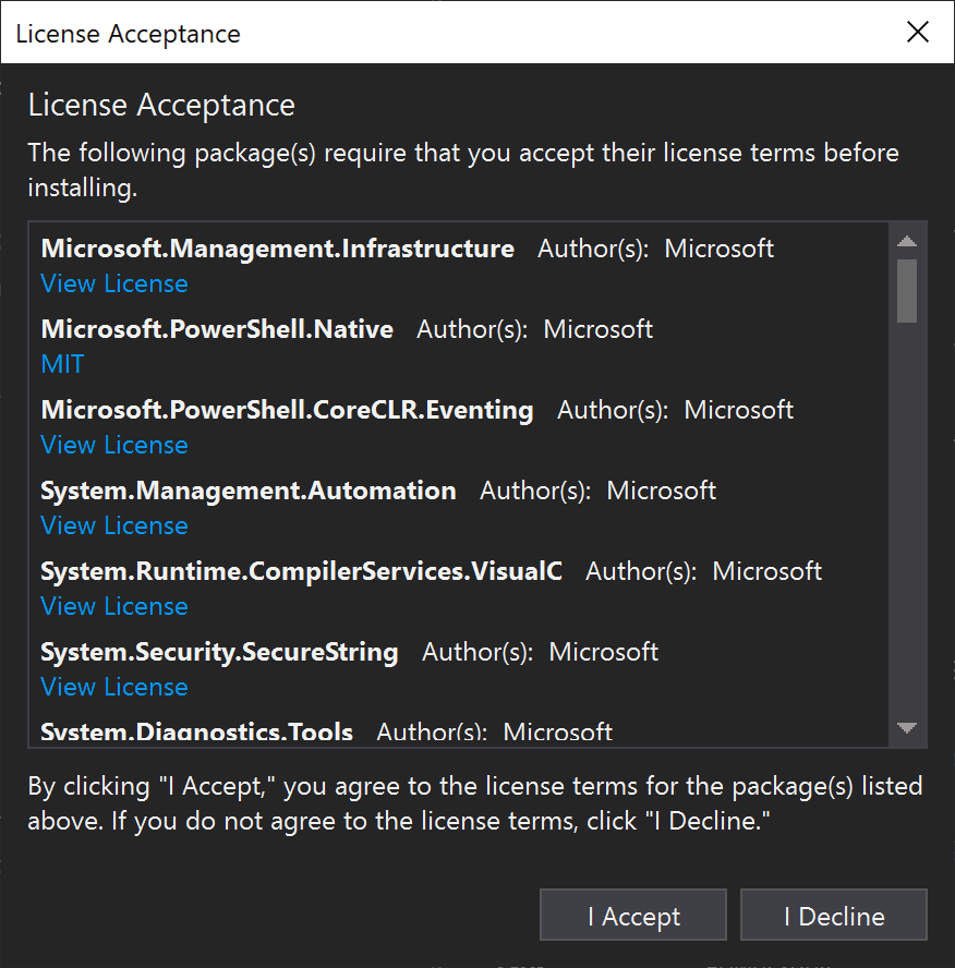 Accept the eula for the downloaded software