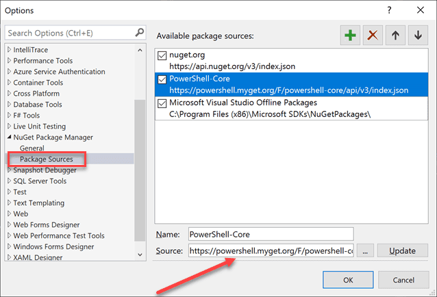 Add an available package source for creating powershell cmdlet